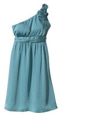 One Shoulder Rosette Bridesmaid Gown