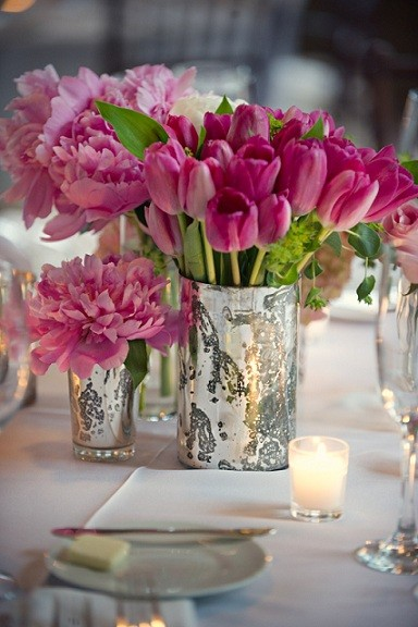 Peonies in mercury glass