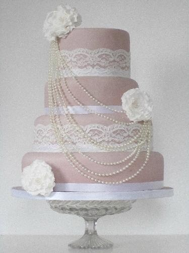 Glamour Blush Wedding Cake